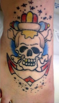 Anchor skull and bones coloured tattoo