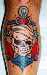 Dead sailor old school tattoo on foot